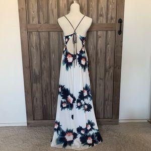 lovestitch Dresses - Lovestitch Boho Deep V Neck Open Back Maxi Dress
